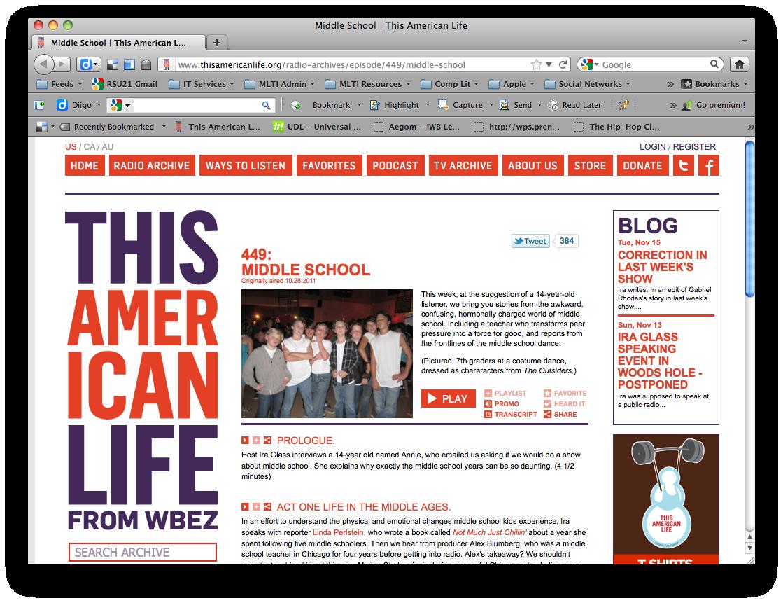 This American Life website screenshot - Episode #449: Middle School
