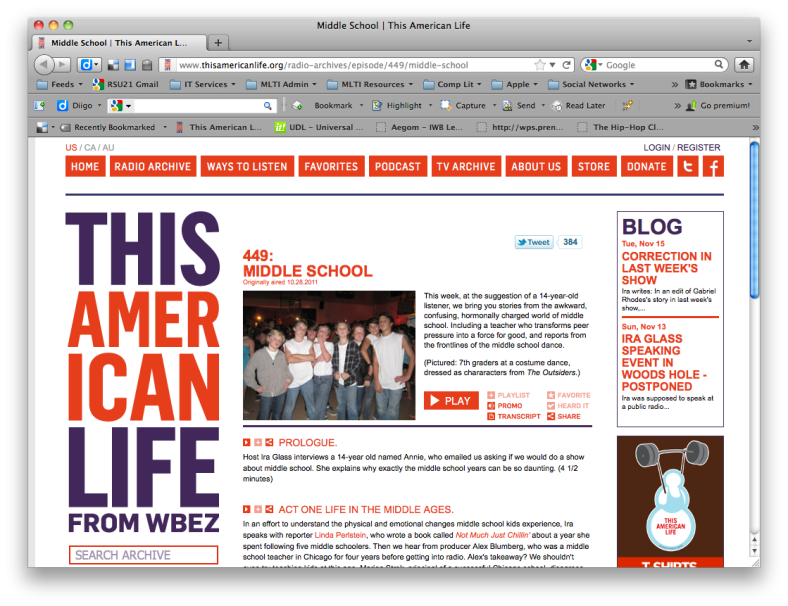 This American Life website screenshot - Episode #449: Middle School