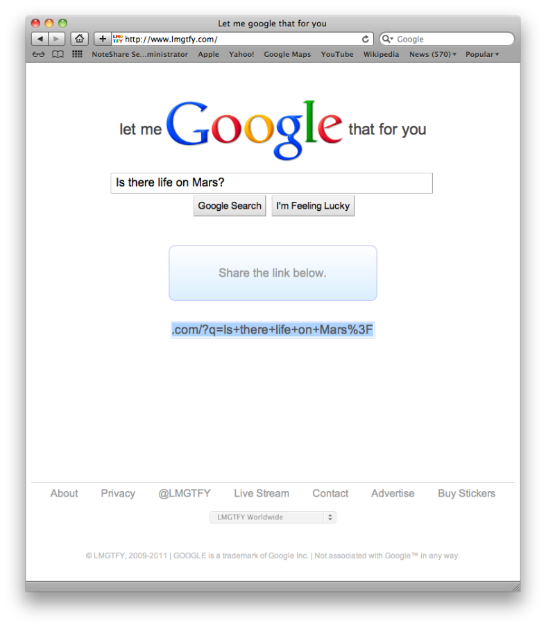 "Screenshot of ""Let Me Google That For You"" website in action"