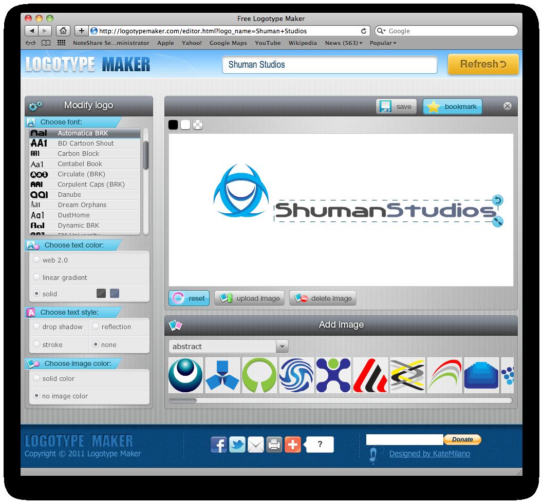 Screenshot of the LogoType Maker web editor window