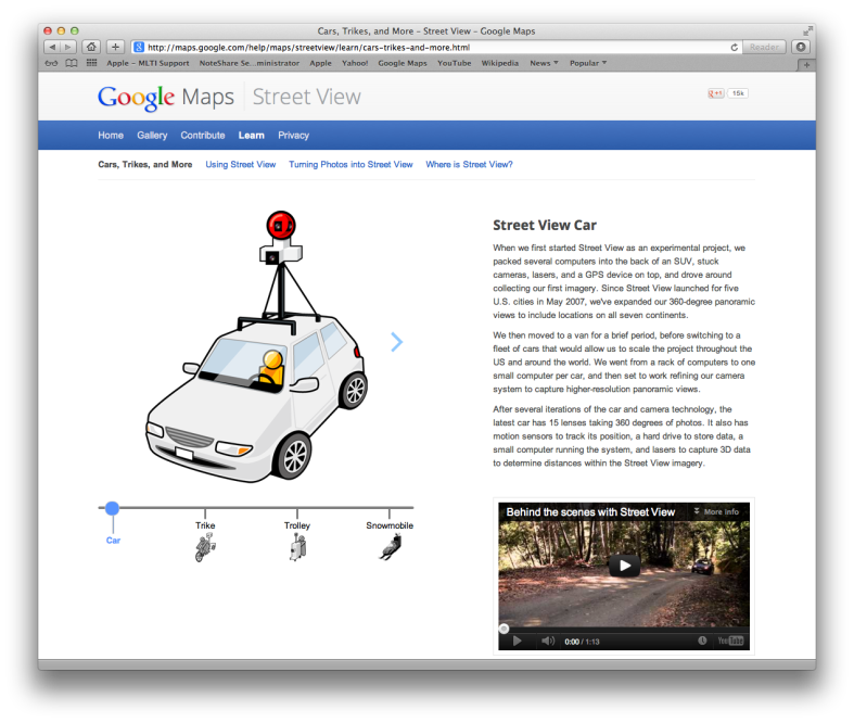 A screenshot of the vehicle page of the Google Street View site