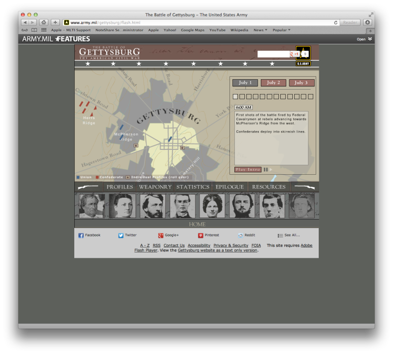 Screenshot of the site interface window