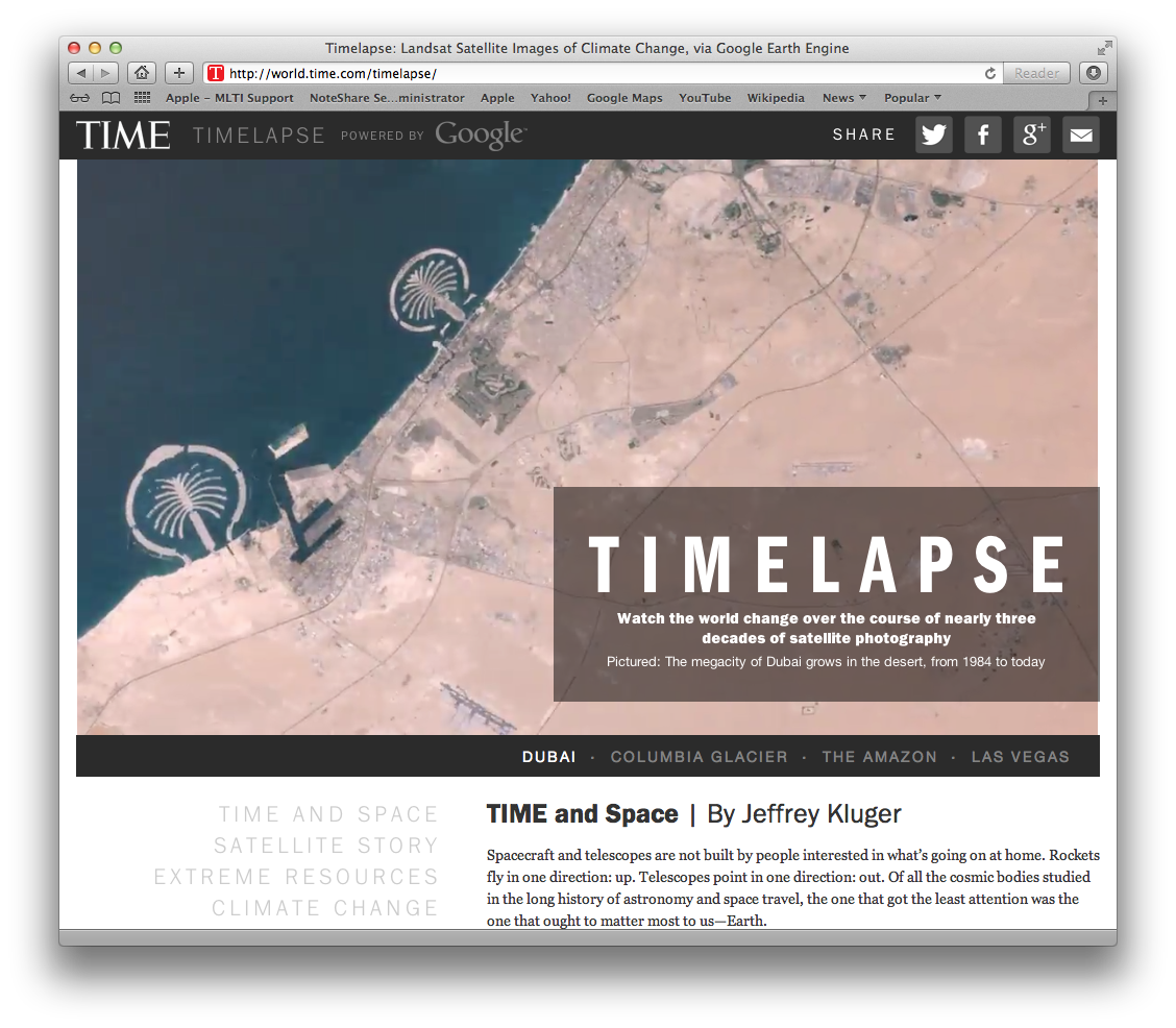 screenshot of the Timelapse homepage