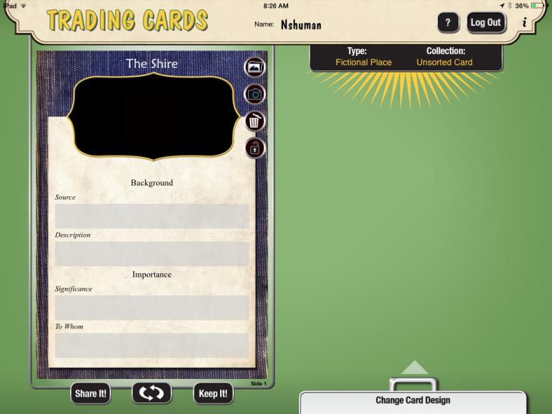 TradingCardCreator iOS app