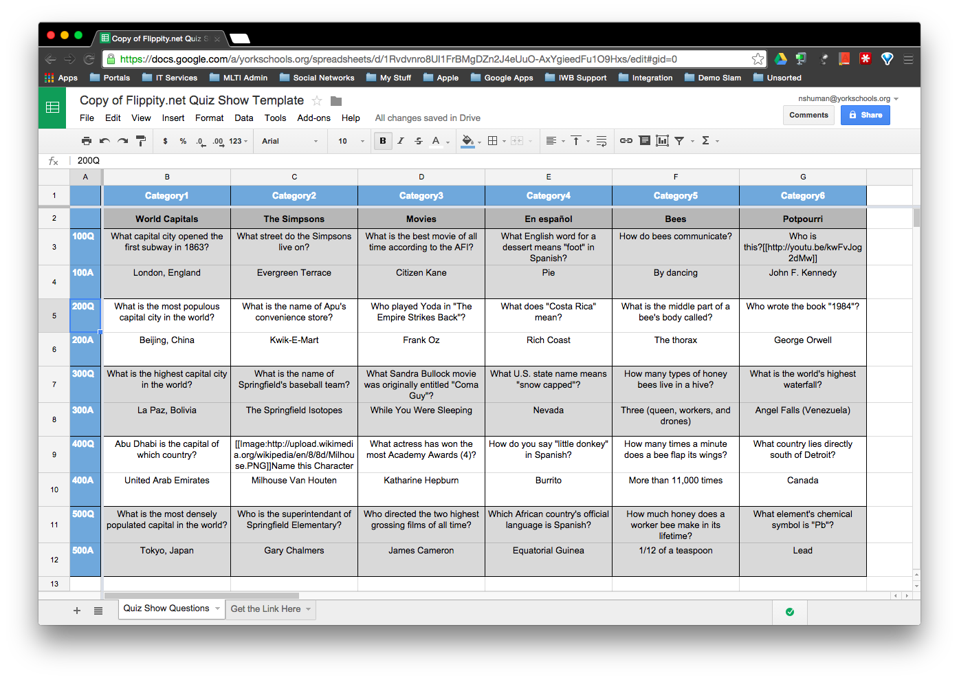 This – Is – Jeopardy…w/Google Sheets & Flippity.net | Tech 2 Teach