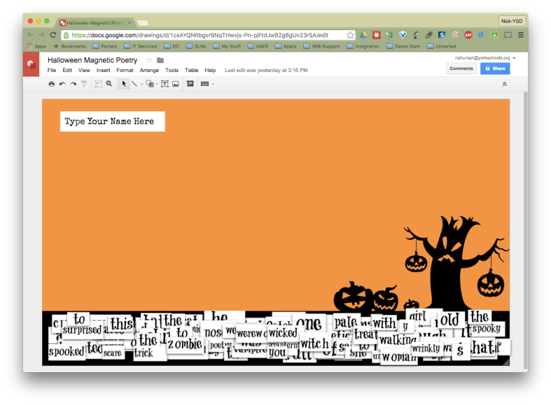 A Google Drawing template designed to act like Magnetic Poetry pieces.