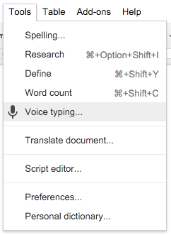 gDocs Voice Typing Menu