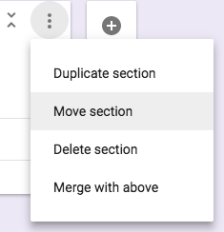 gForms section drop-down menu