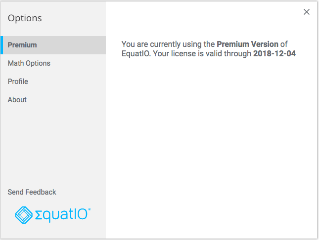 EquatIO Options window