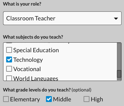 Choose role, subject, and grade level
