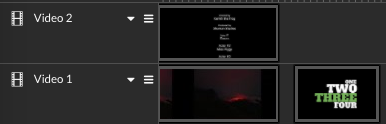 Video 2 & Video 1 tracks with text templates