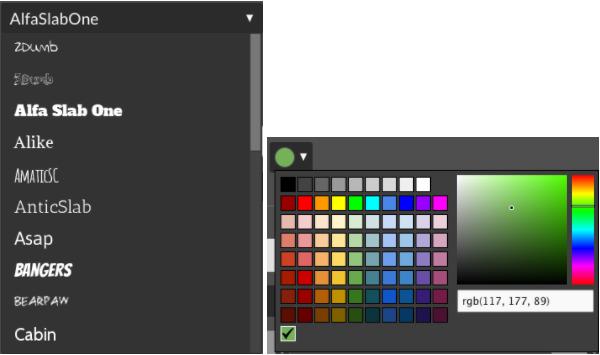Font and color option menus