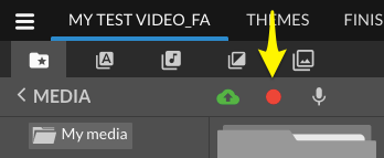 editor menu with recorder icon