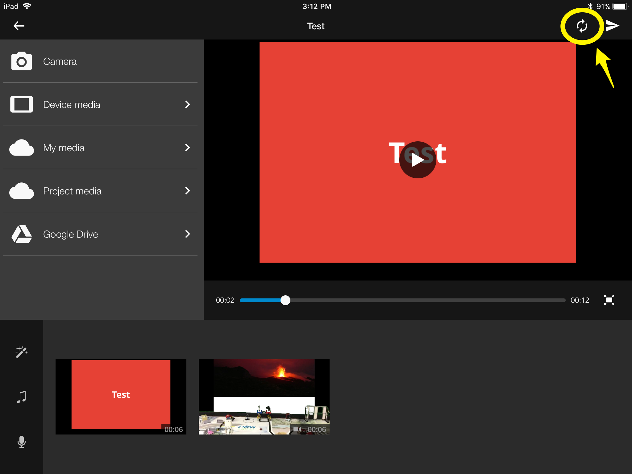 Editor screen with sync button highlighted