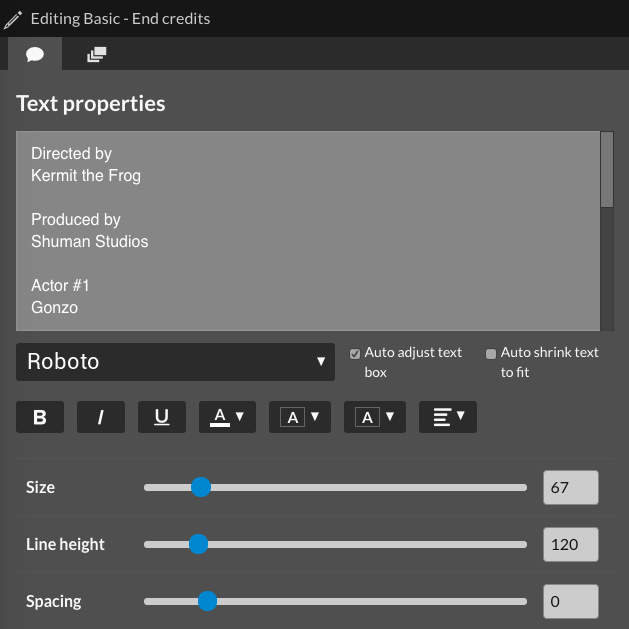 Text properties window
