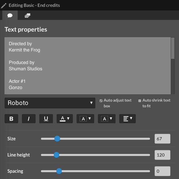 Text properties window