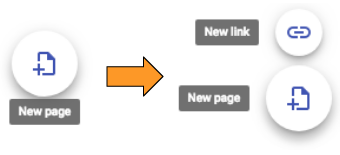 New page button becomes New page and New link button