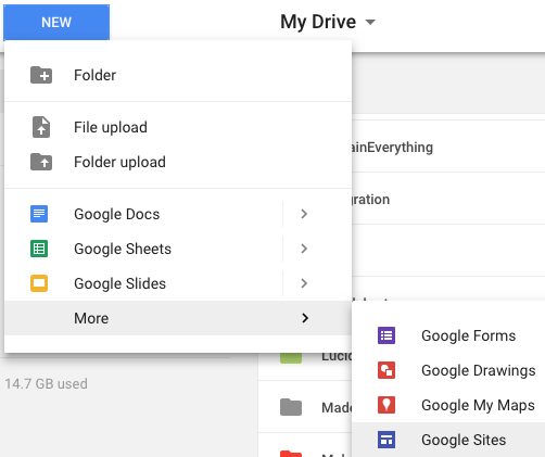 Create a new Site from Drive