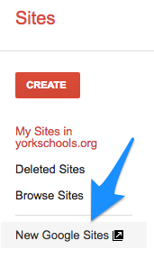 Old Google Sites menu