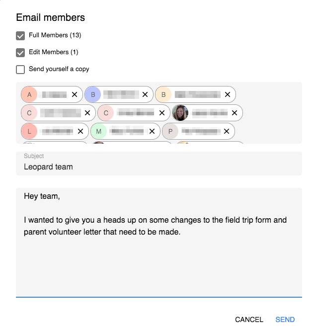 Team Drive Email Members window