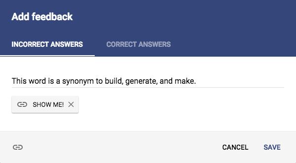 "Google Forms quiz question ""Add feedback"" panel"