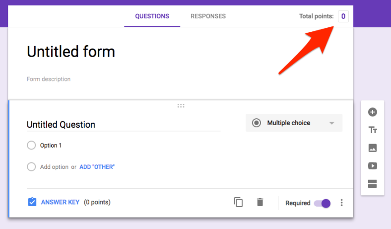 Google Forms with Quiz feature enabled showing new total points option.