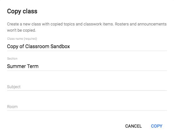 Classroom Copy class setup window