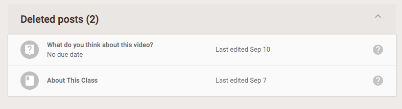 Deleted posts displayed at the bottom of the Classwork tab