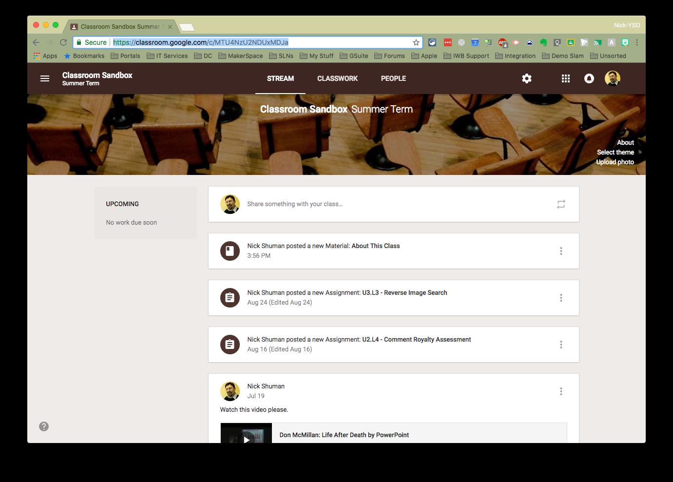 New Stream tab in Google Classroom