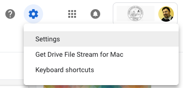 Google Drive Settings drop-down menu