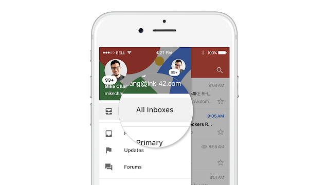 Gmail mobile app with All Inboxes option highlighted