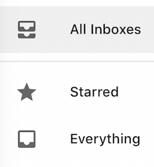 Gmail mobile All Inboxes and Everything options