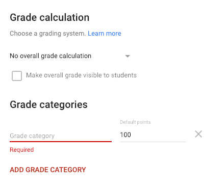 Classroom Settings Grade Calculations and Categories