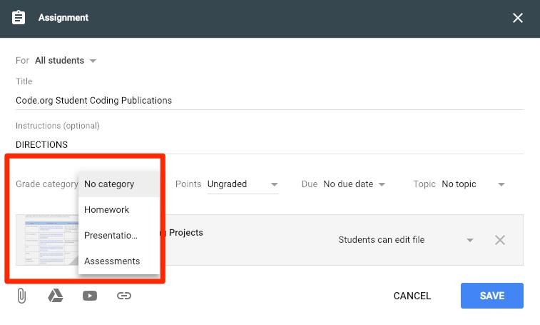 Classroom Gradebook Categories option from assignment details window