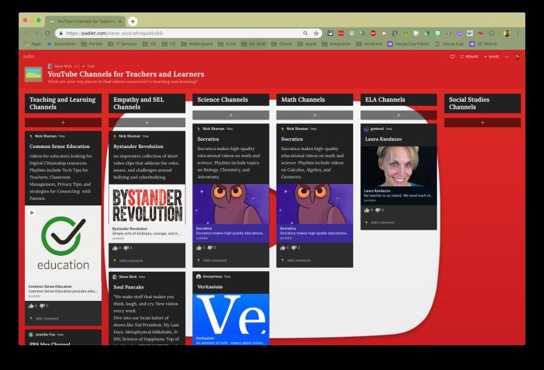Padlet board screenshot