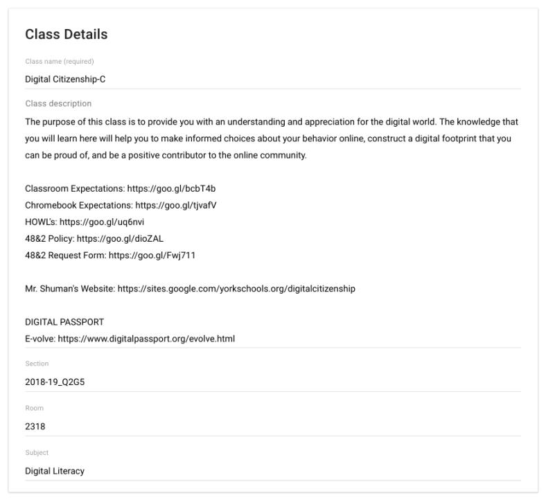 Classroom Class Settings/Details window.