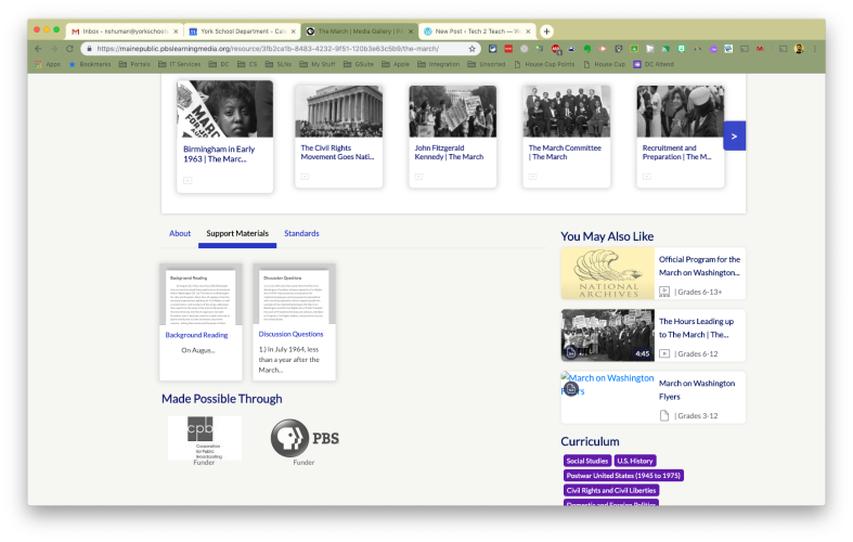 March on Washington media gallery page with video clips, support materials, and standards.
