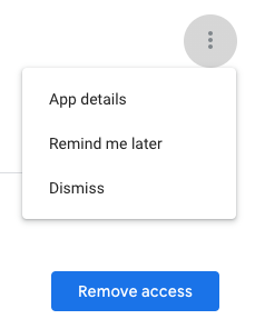 Options menu for each app, site, and service that has access to your account info.