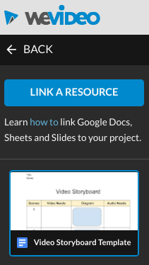 WeVideo side panel showing the LINK A RESOURCE button and one linked Google Doc thumbnail.