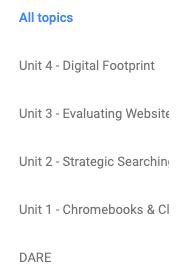 Topics filter list in Classroom